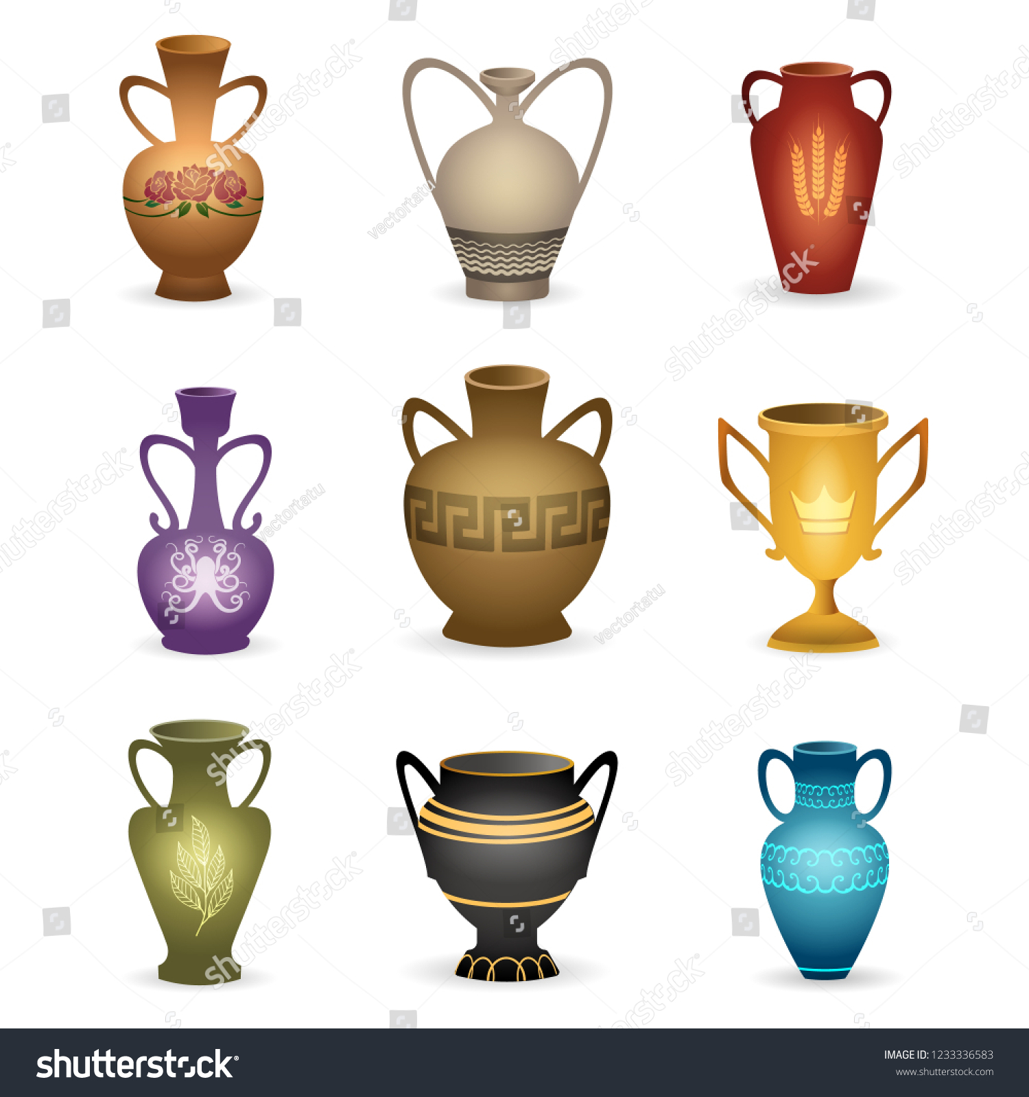 Old Vases Vintage Vessels Isolated On Stock Vector Royalty Free 1233336583