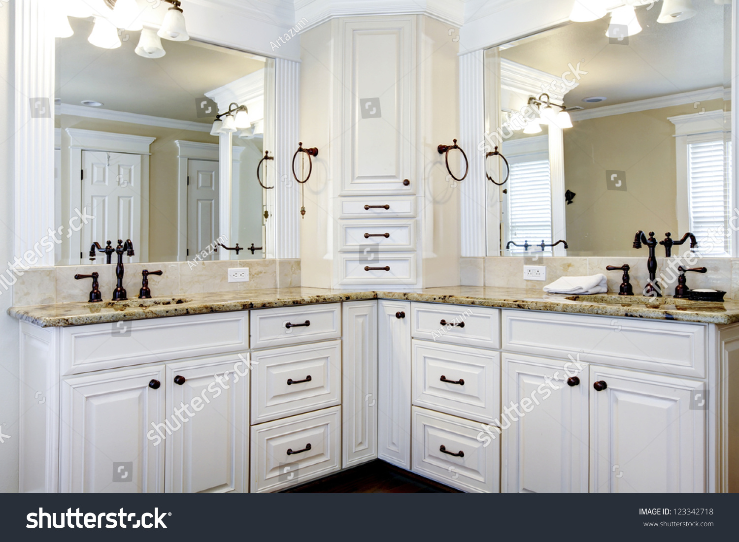 Luxury large white master bathroom cabinets with double - Large bathroom sink with two faucets ...