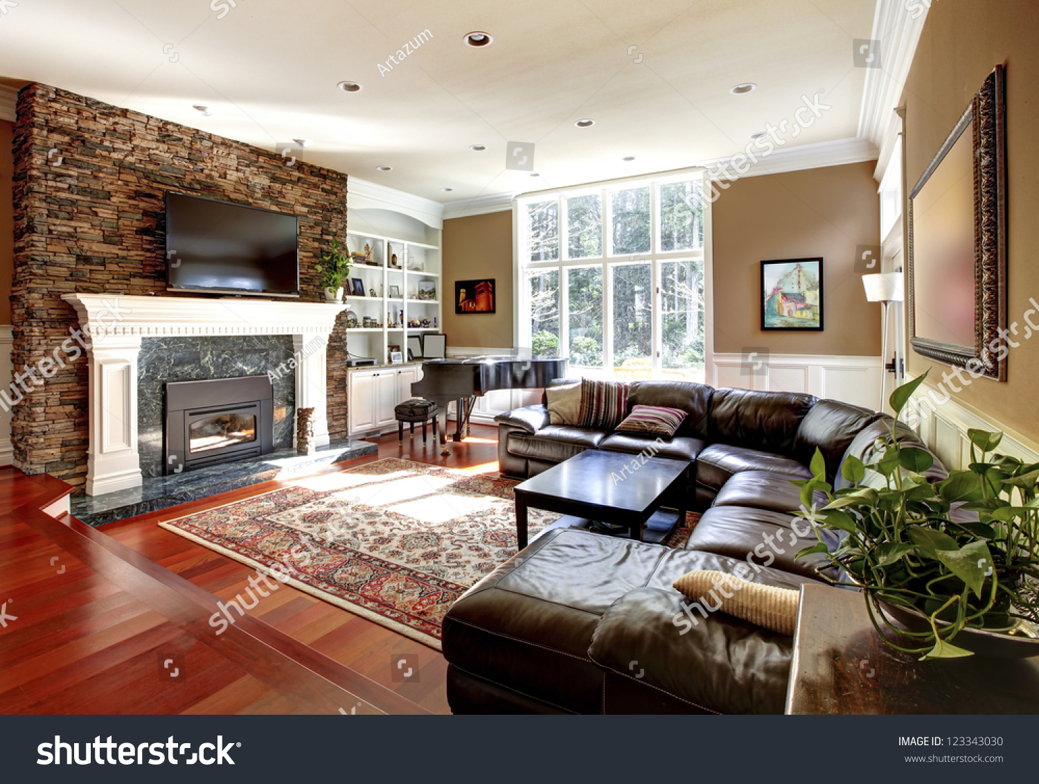 Luxury Living Room Stone Fireplace Leather Stock Photo