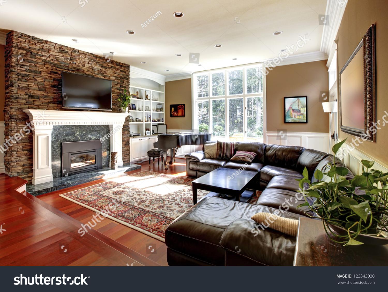 Nice Living Room Luxury Living Room Stone Fireplace Leather Stock Photo 123343030