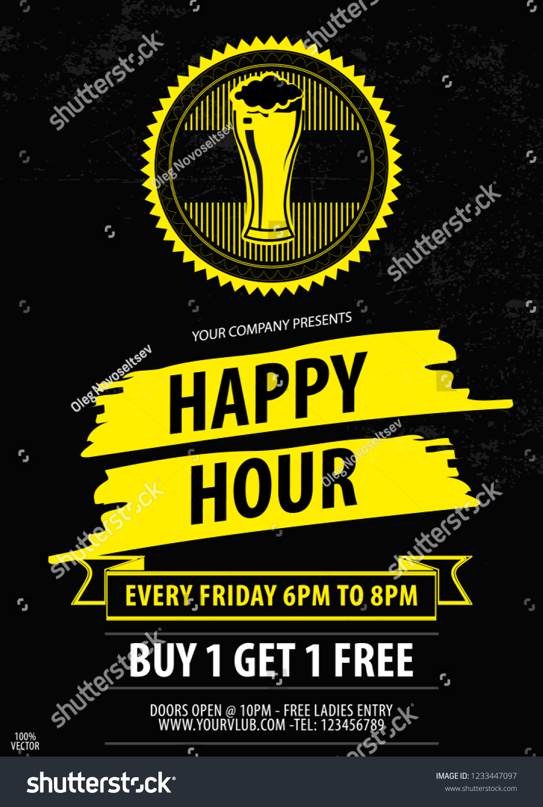 Happy Hour Offer Flyer Template Free Stock Vector Royalty Free