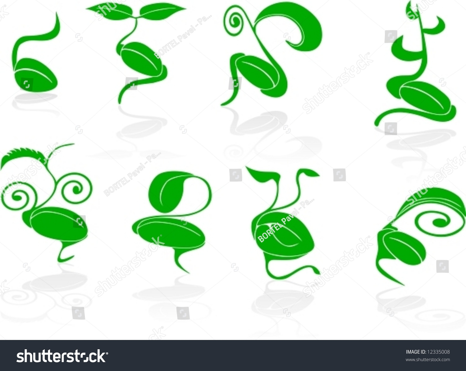 Vector Set Of 8 Green Seed With Germination - Spring Theme ...