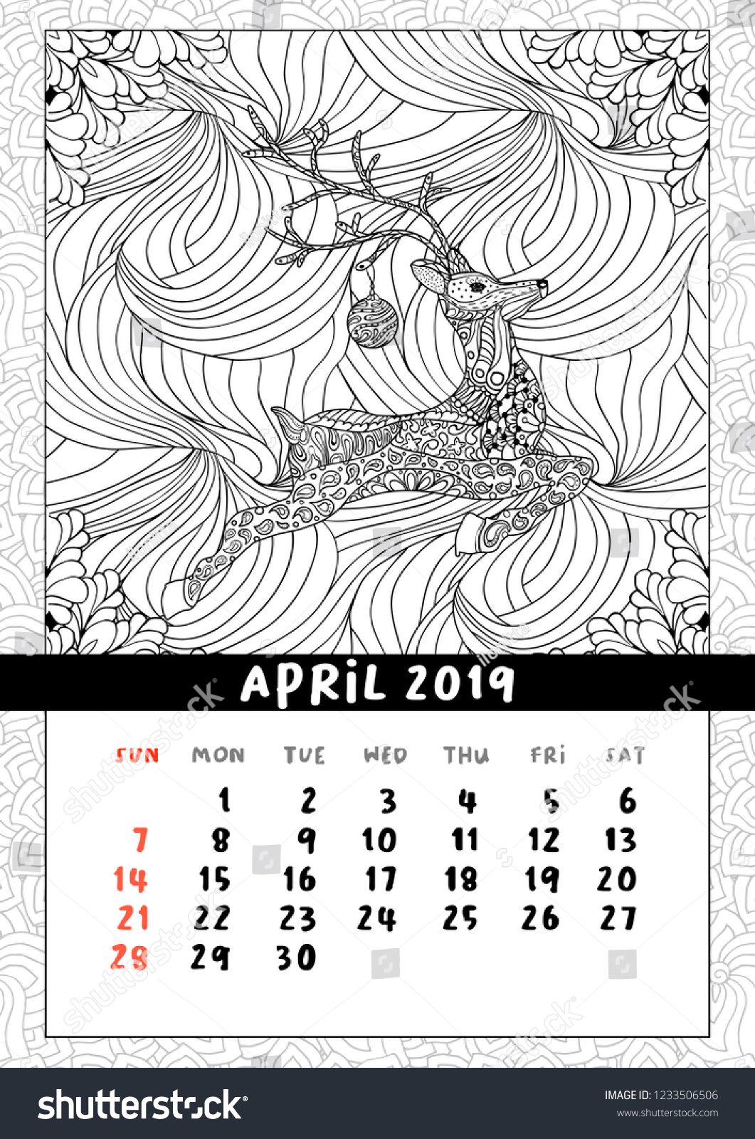 christmas deer calendar calendar april 2019 year coloring book poster for adults and kids
