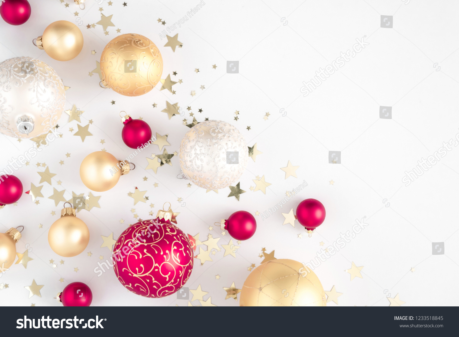 Christmas elegant composition. Christmas red and gold decorations on white background. Christmas, New Year, winter concept. Flat lay, top view, copy space #1233518845