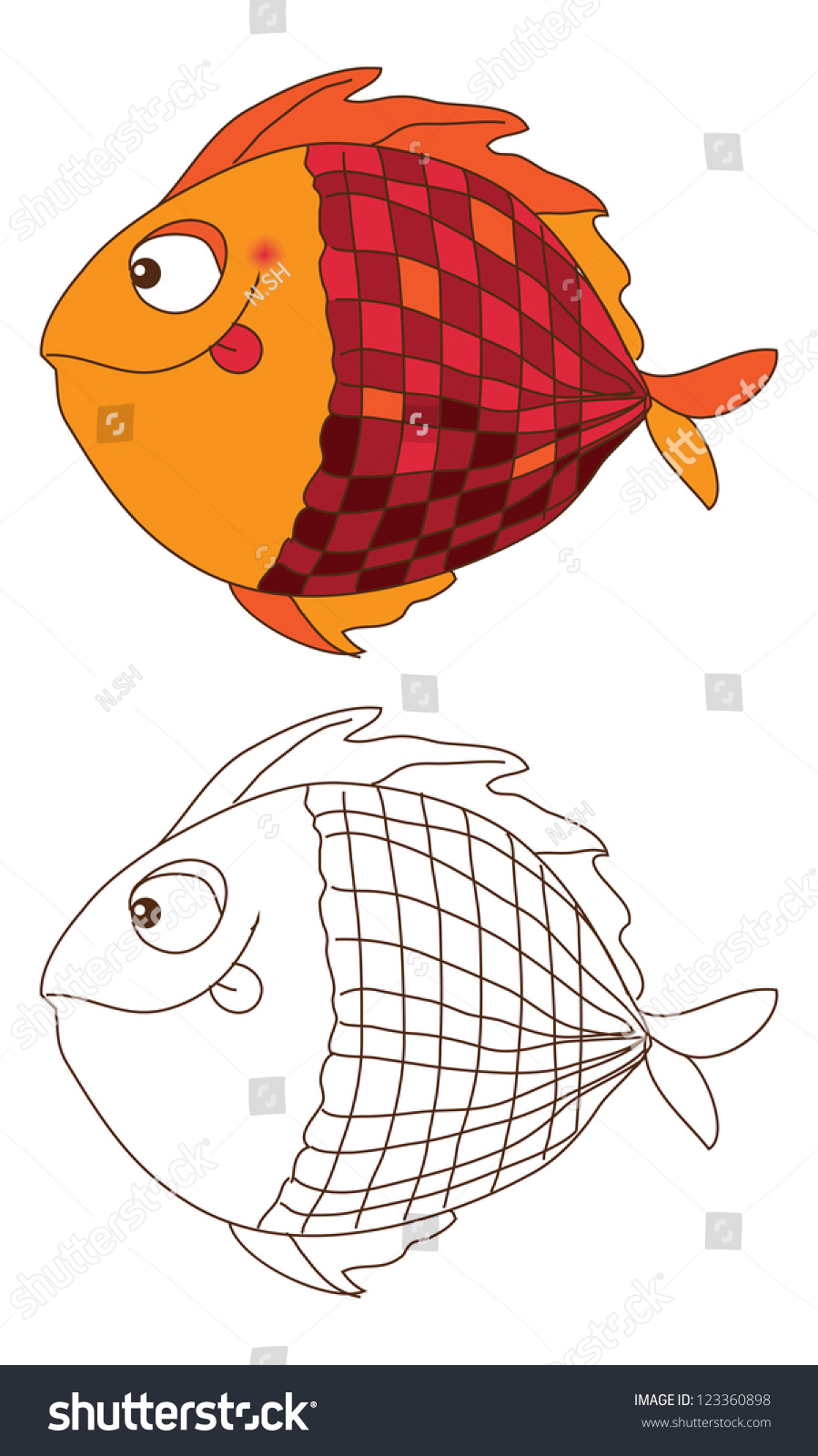 Sketch Cute Fish Color Outline Stock Vector (2018) 123360898 ...