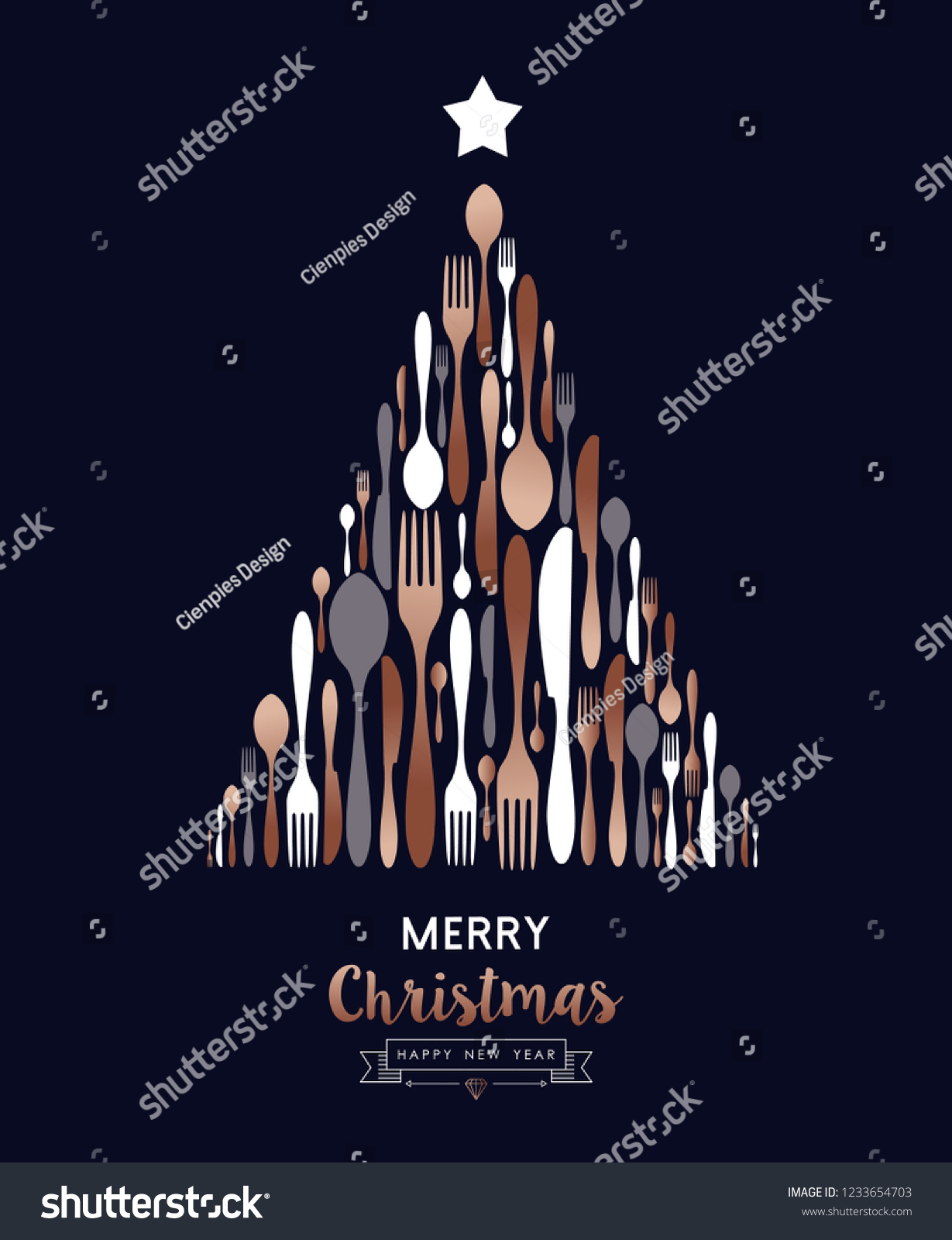 merry christmas and happy new year greeting card of food cutlery utensils making pine tree shape
