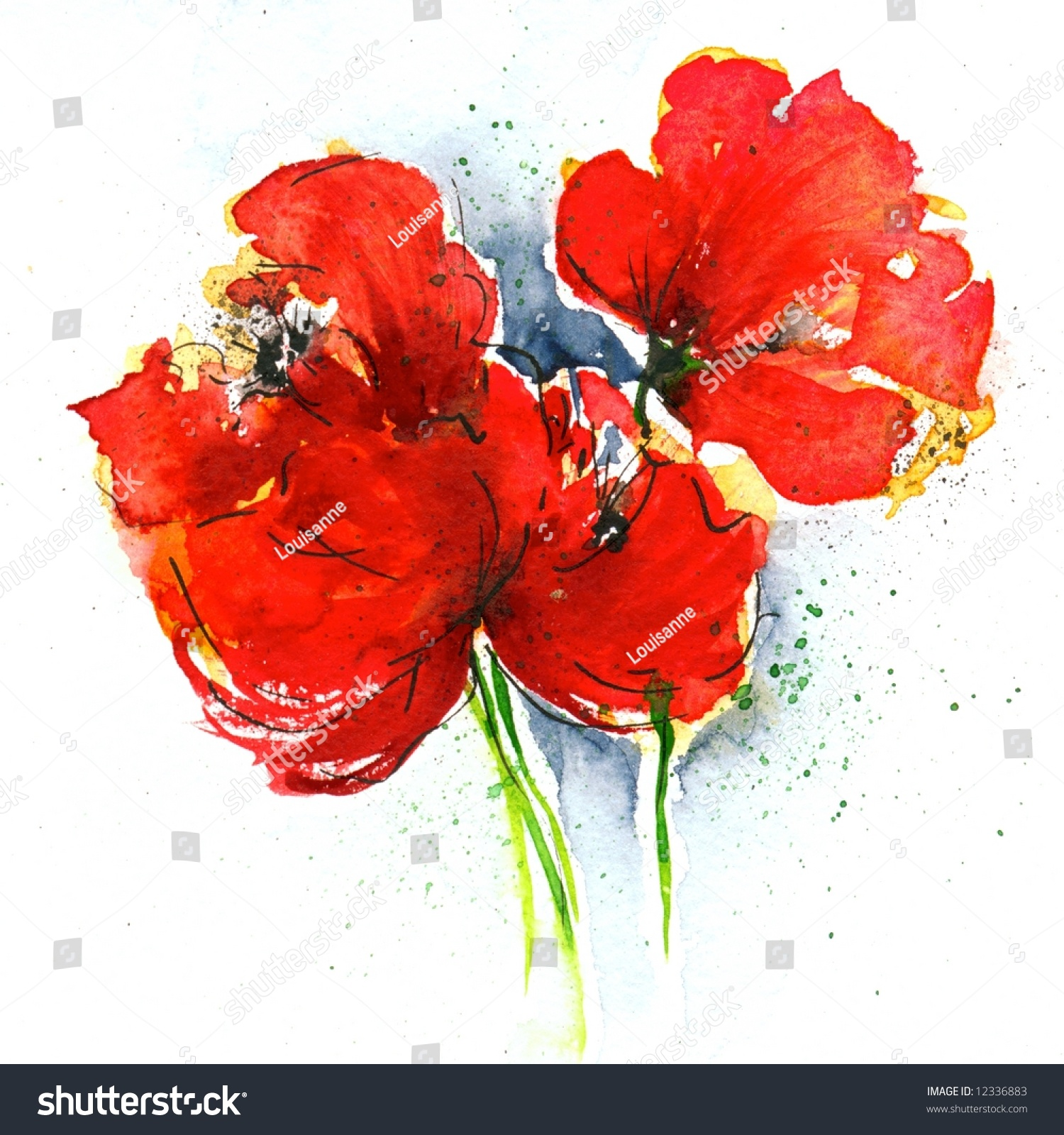 Floral painted poppy illustration on white stock illustration floral painted poppy illustration on white background ink and watercolor painting art is created mightylinksfo