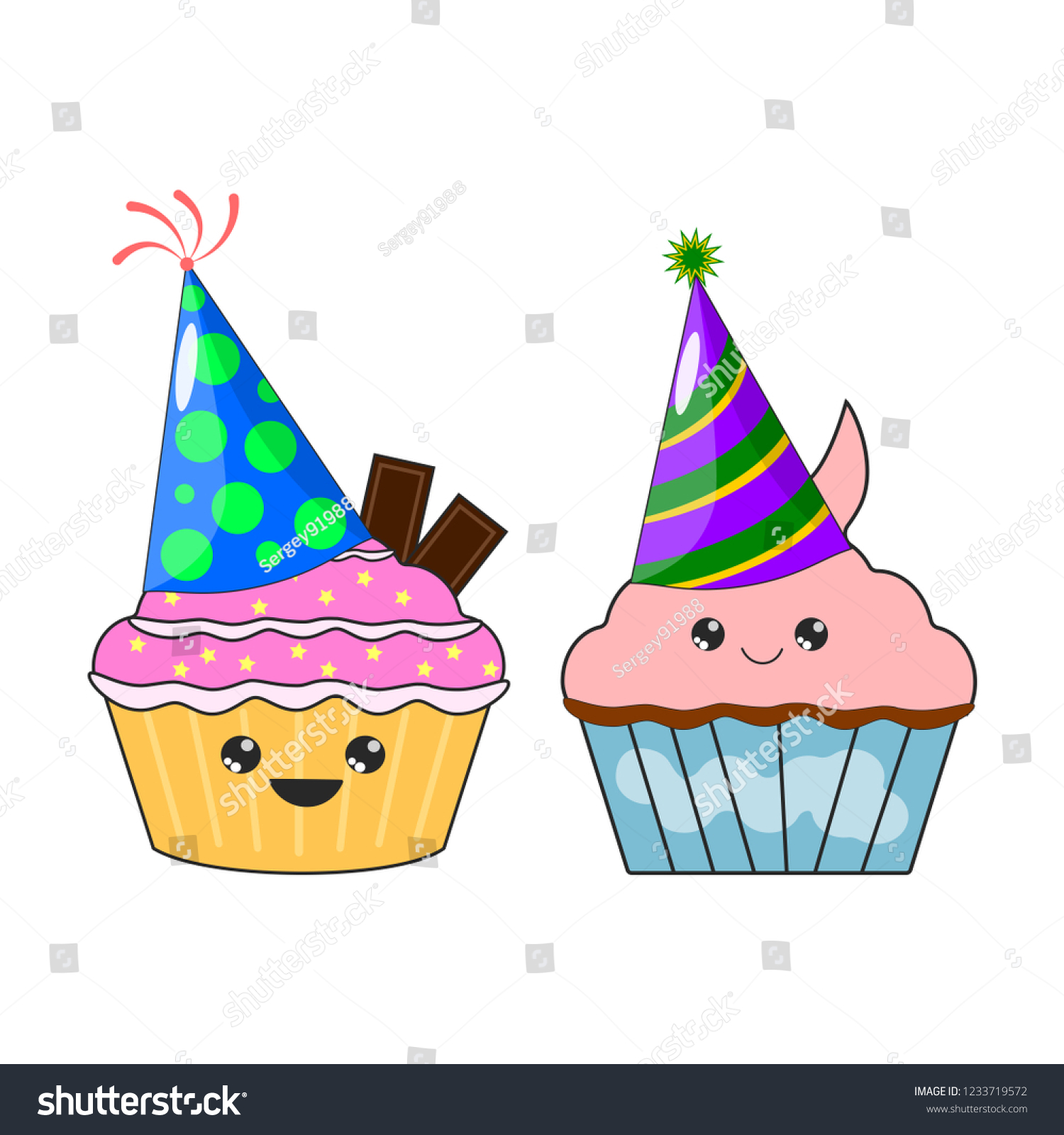 Stock Vector Set Of Yummy Kawaii Cake Muffin Sticker With Party Birthday Hat Isolated On White