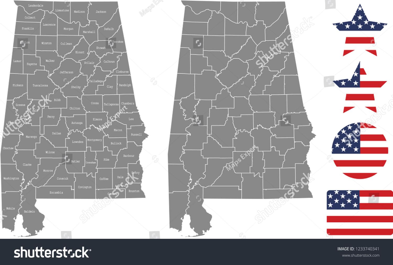Alabama County Map Vector Outline Gray Stock Vector (Royalty Free ...