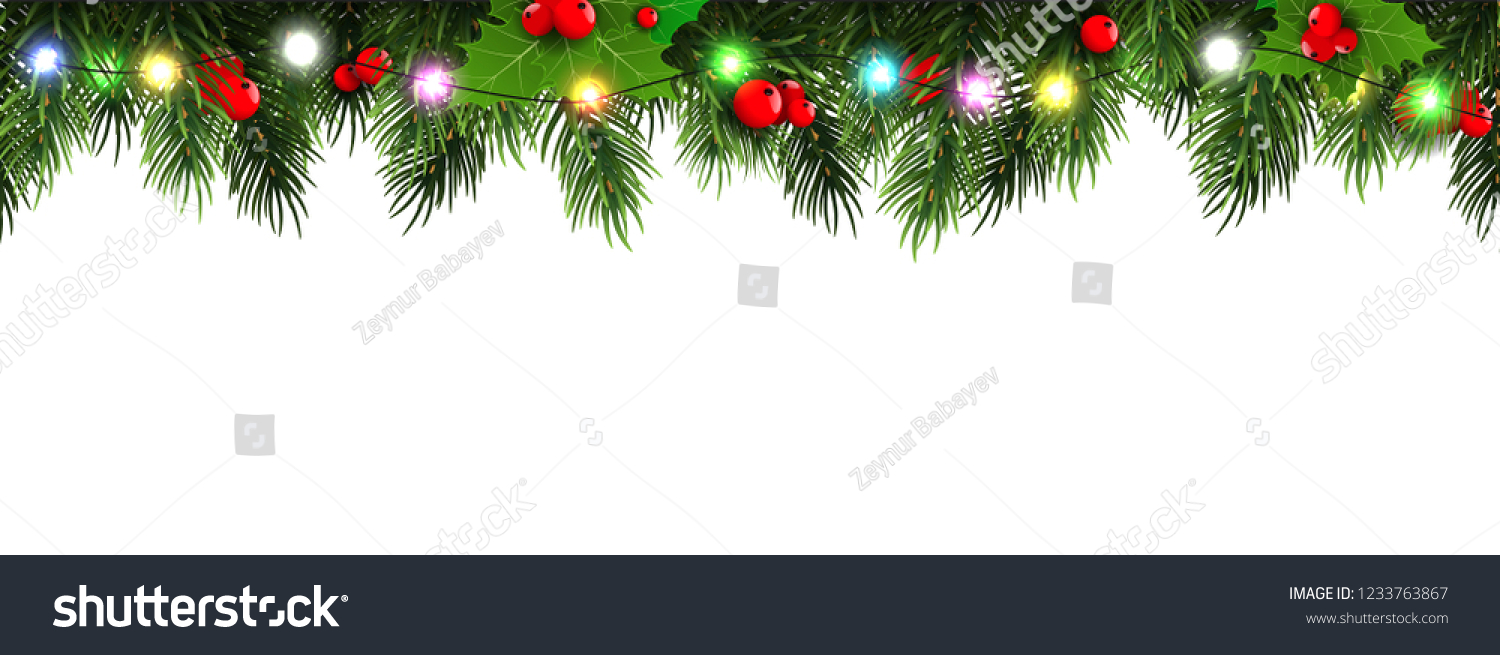 Horizontal Christmas border frame with fir branches, pine cones, berries and lights. Vector illustration. #1233763867