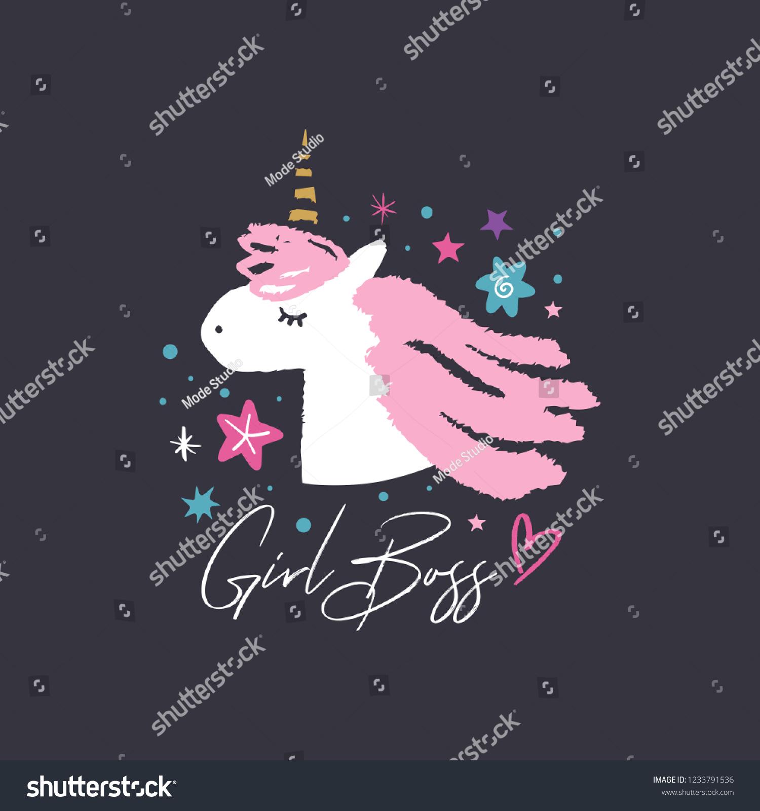 stock vector unicorn head cute art baby stylish illustration nursery wallpaper girl boss text vector and jpg 1233791536
