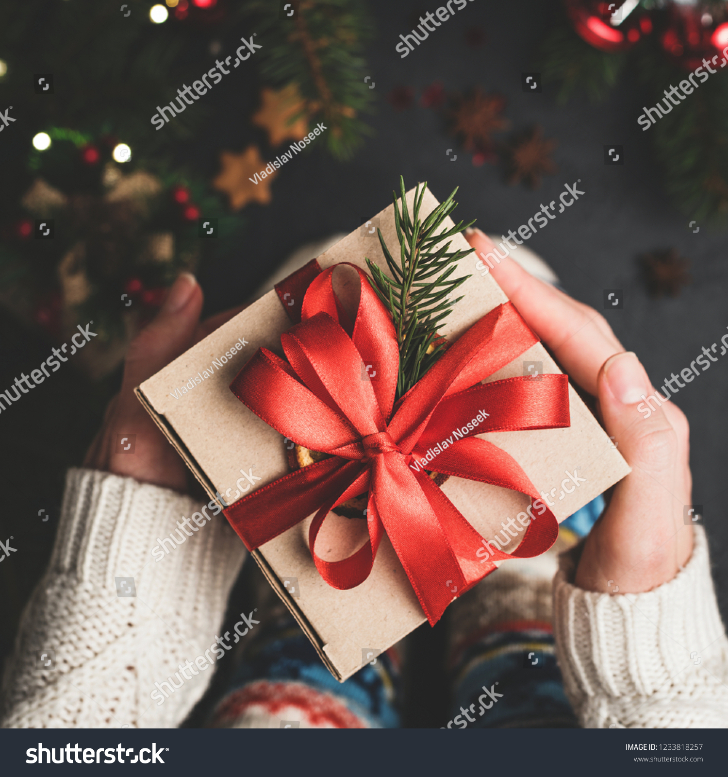 Christmas Gift Box Red Lace Hands Stock Photo Edit Now 1233818257