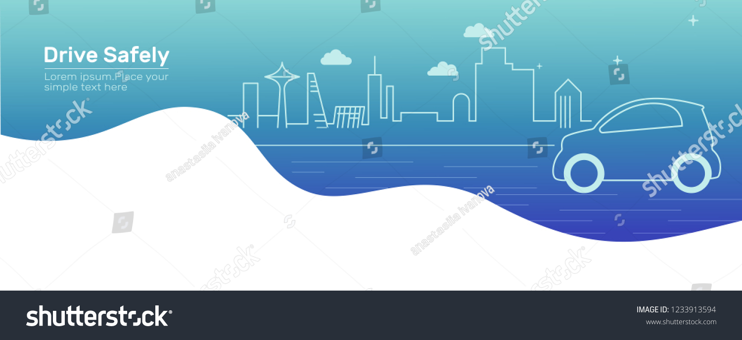 Background car and city.Outline car on the road. Drive safely warning billboard.Flat vector illustration. Car on asphalt road with speed limit on highway.Gradient background.Banner for web