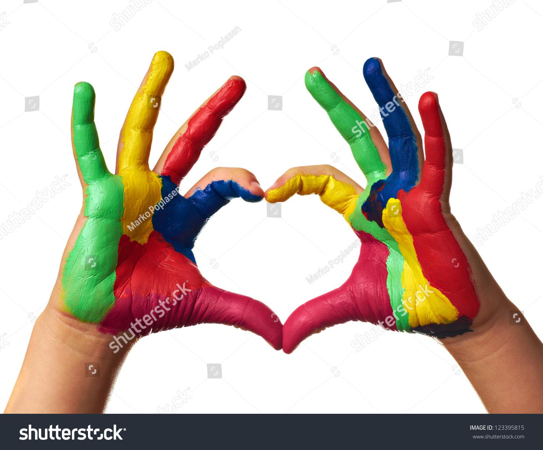 Child Hands Painted Make A Heart Shape
