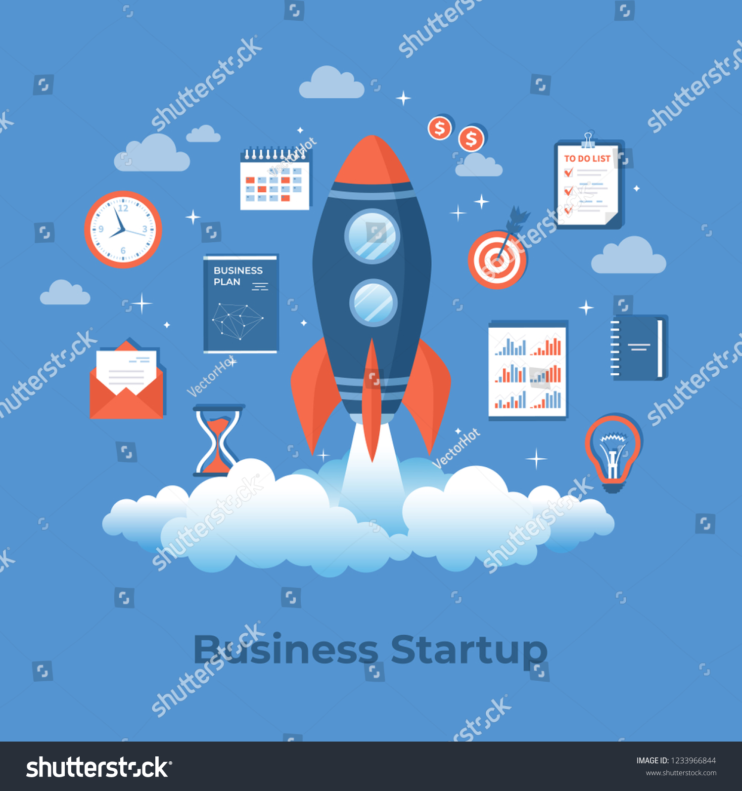 Business Project Startup Financial Planning Idea Stock Vector