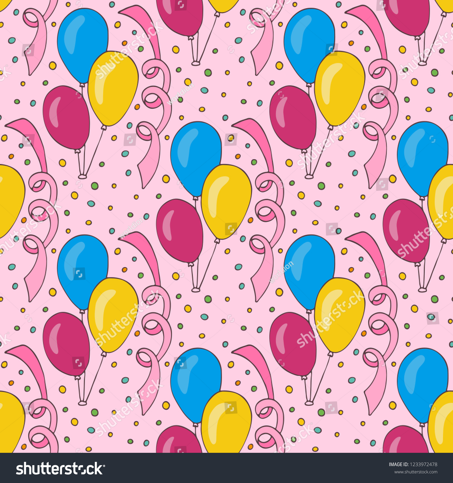 Birthday Wrapping Paper Textile Print For Baby Interior Decor Pink Background With Blue Yellow And Ballon Funny Kids Vector Pattern Design