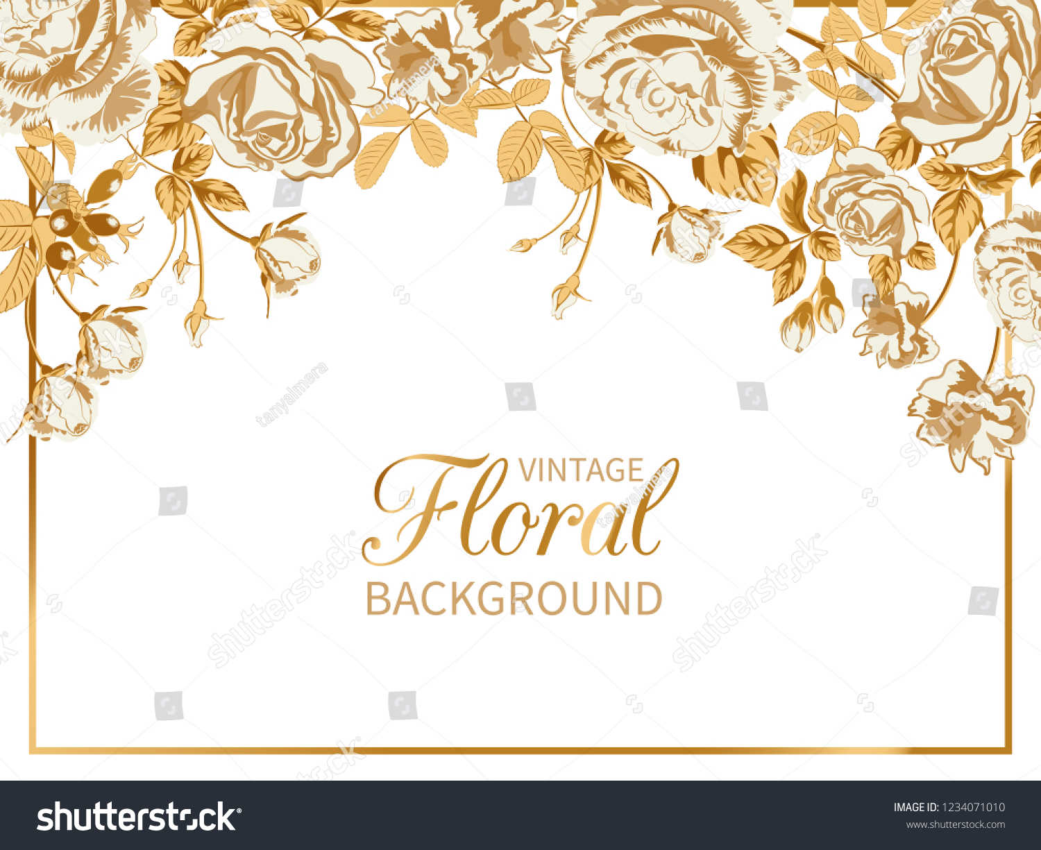Vector Vintage Floral Backgroundwedding Card Frame Stock Vector