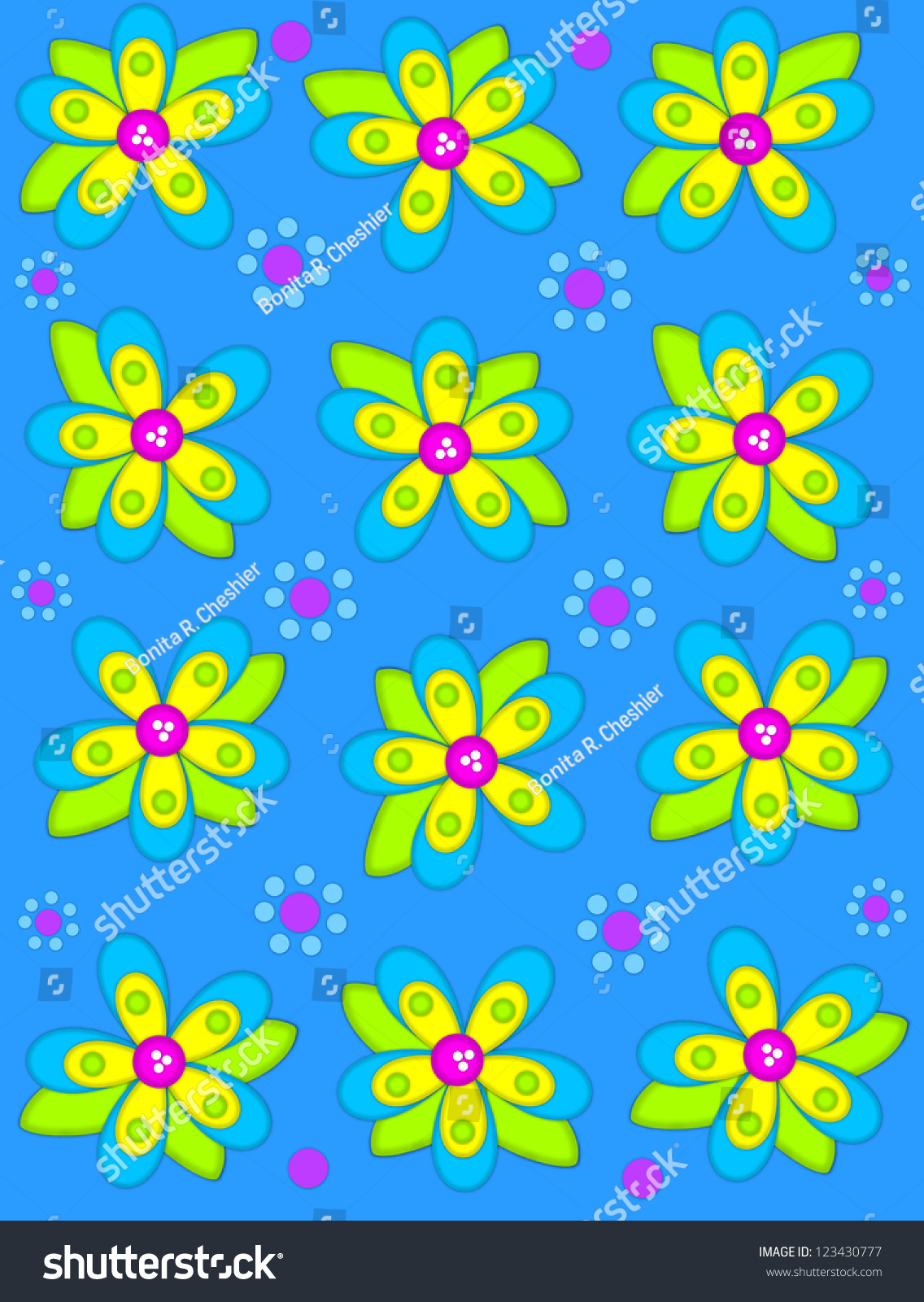 Brilliant Blue Background Is Decorated With Big 2d Flowers Topping