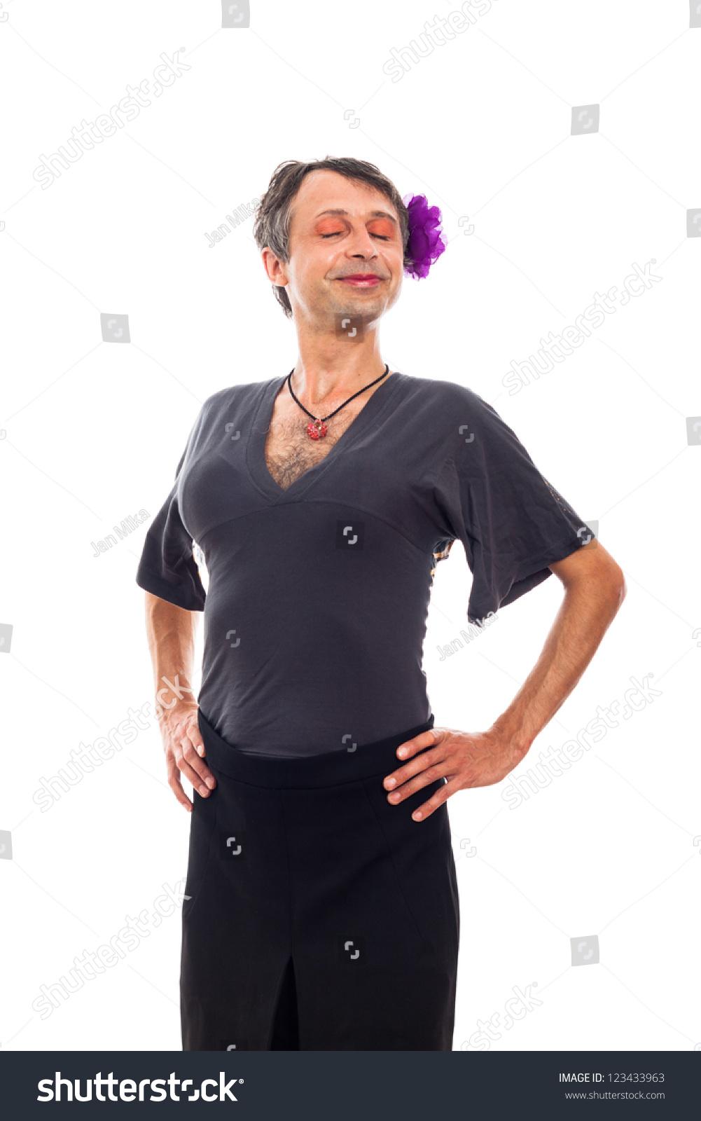 Portrait Happy Proud Transvestite Man Crossdressing Stock ...