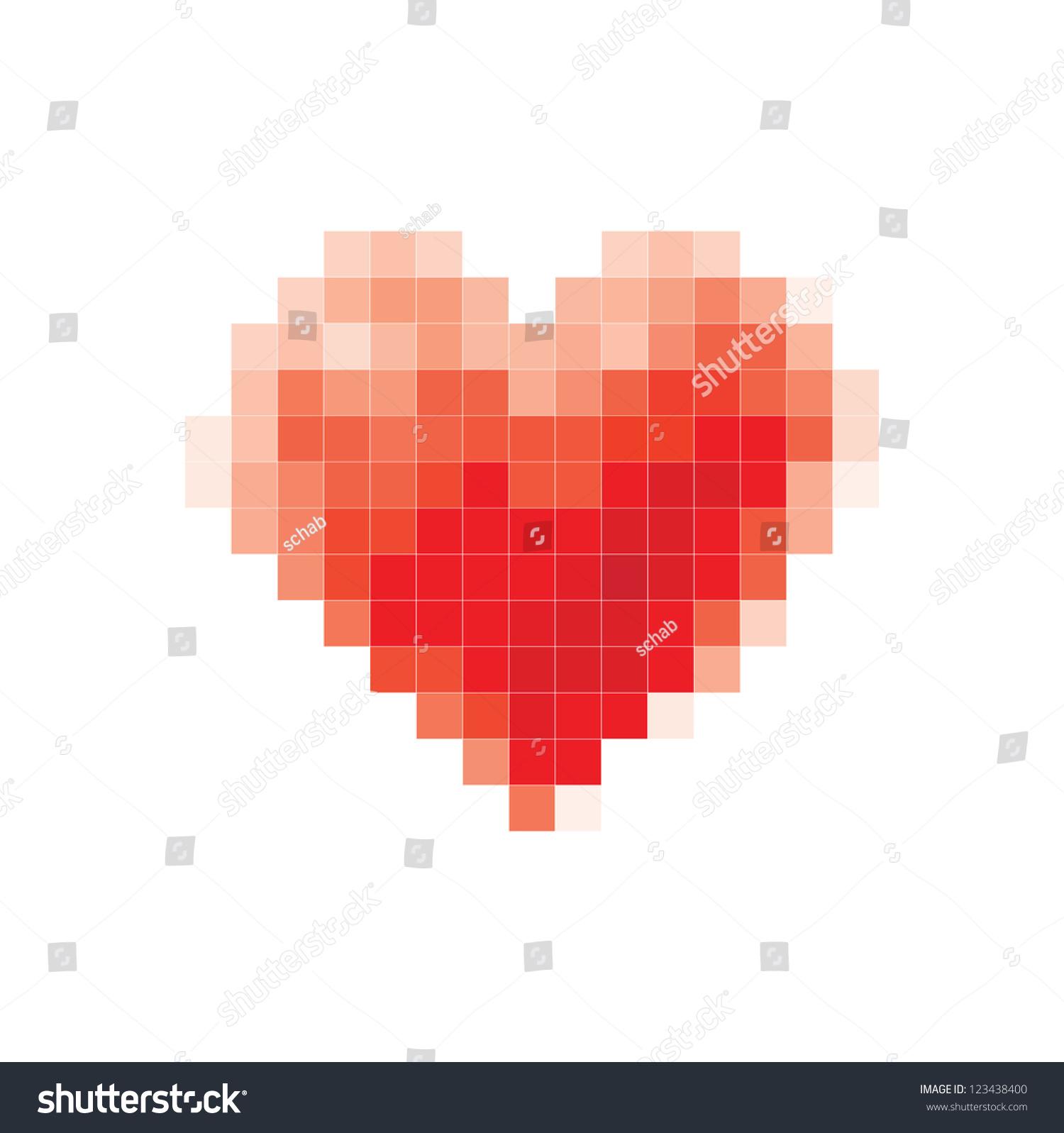 Vector Pixel Heart Stock Vector 123438400 - Shutterstock