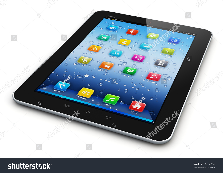 Black Glossy Tablet Pc Mobile Computer Stock Illustration ...