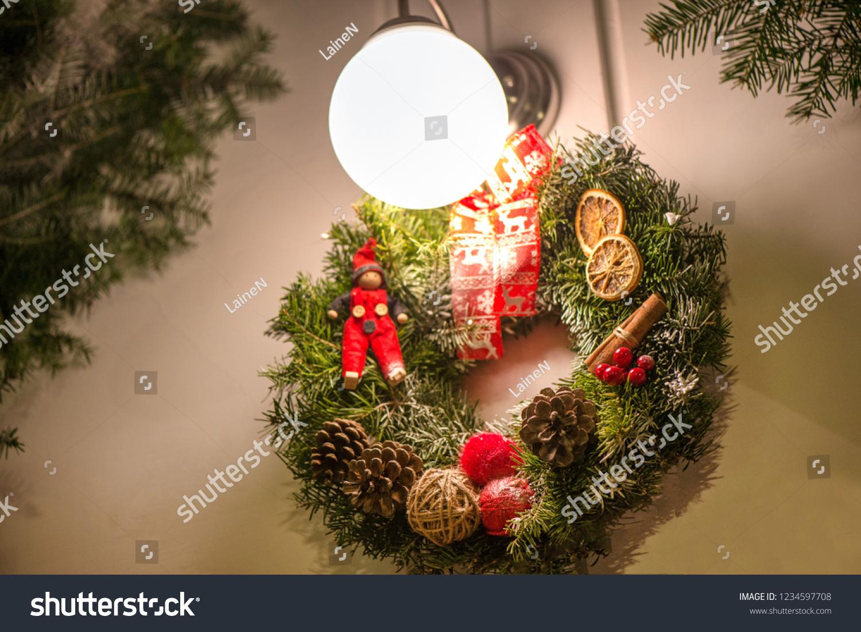 Beautiful Christmas Decorations Hanging On Doors Stock Photo