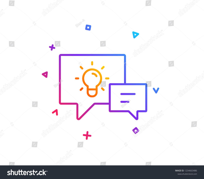 Idea Lamp Speech Bubbles Line Icon Stock Vector Royalty Free Lightbulbsymbolcircuitdiagram Light Bulb Symbol Circuit Diagram With Communication Sign Gradient