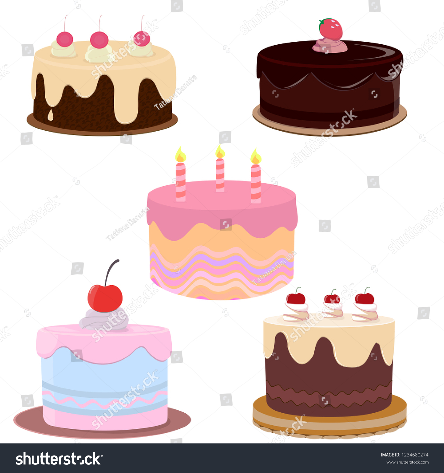 Astounding Set Colorful Birthday Cakescakes Icons Collection Stock Vector Birthday Cards Printable Nowaargucafe Filternl