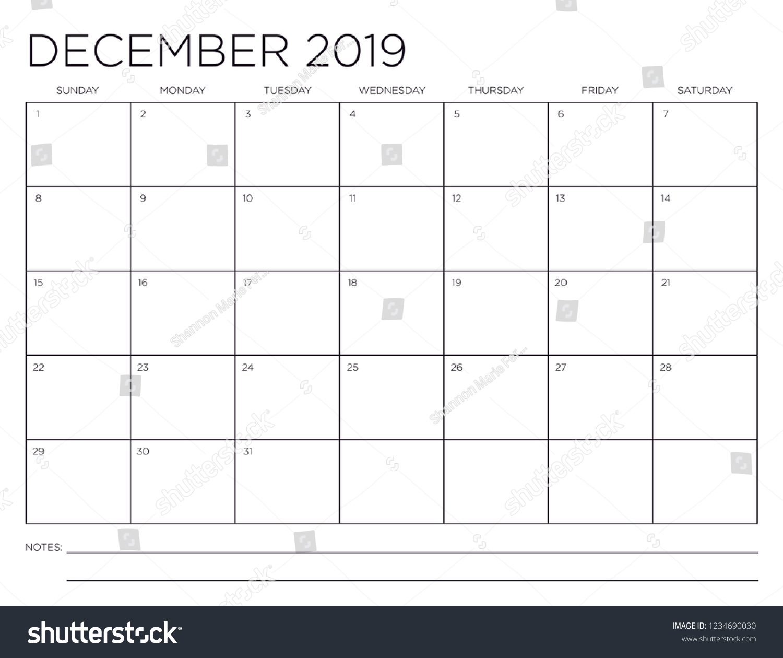 Horizontal December 2019 Calendar Page December 2019 Minimal Horizontal One Month Stock Vector (Royalty