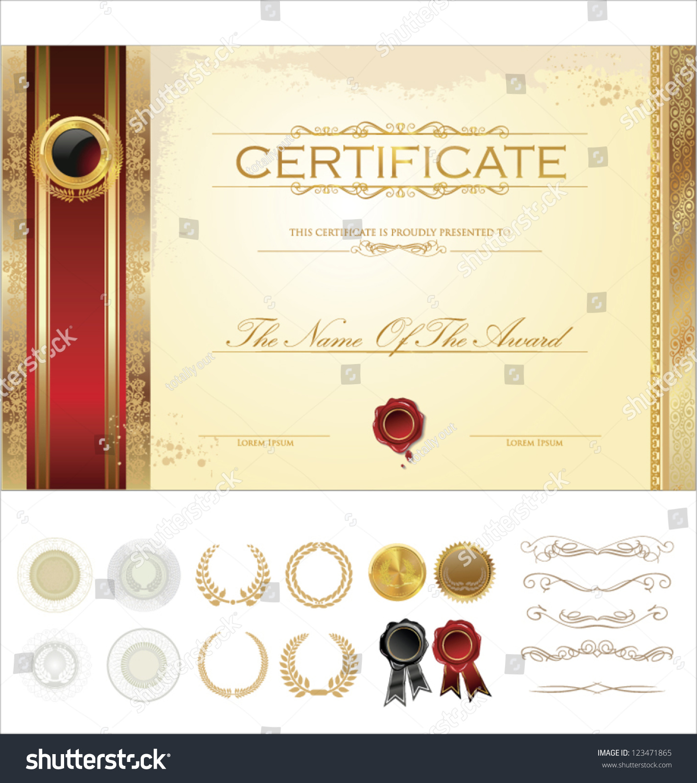 Luxury certificate template stock vector 123471865 shutterstock luxury certificate template xflitez Gallery