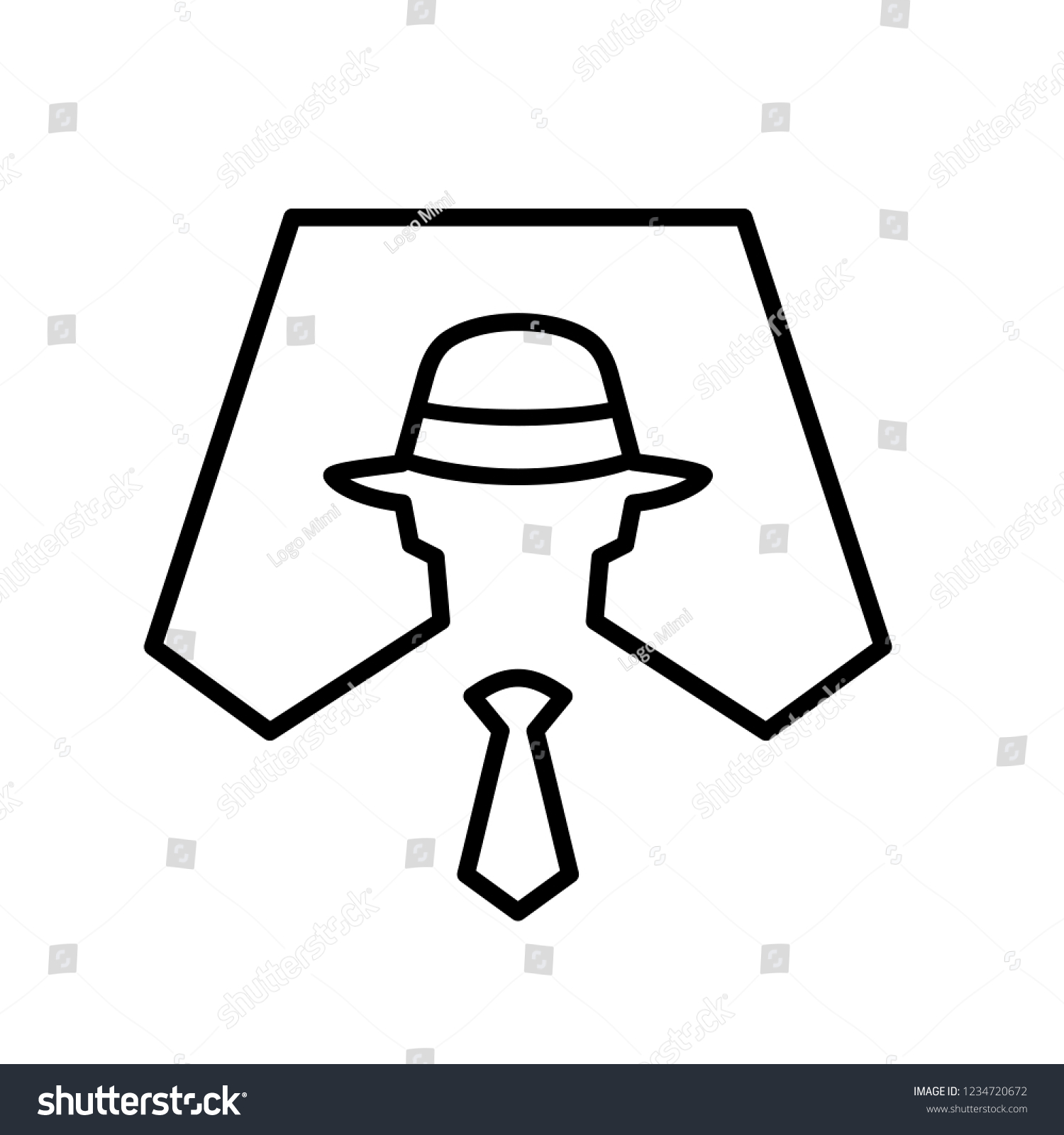 58bf2350 Spy Symbol Icon Illustration, Anonymous, Secret Agent, Hacker, Mysterious -  Vector