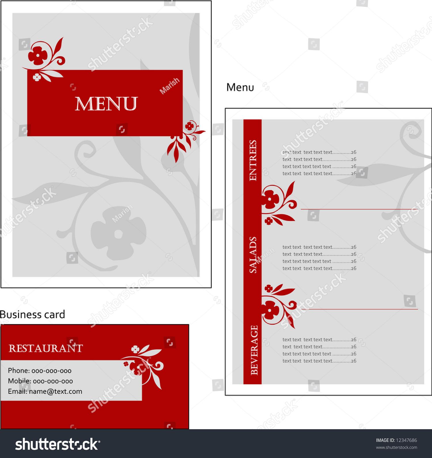 Template Designs European Menu Business Card Stock Vector 12347686 ...