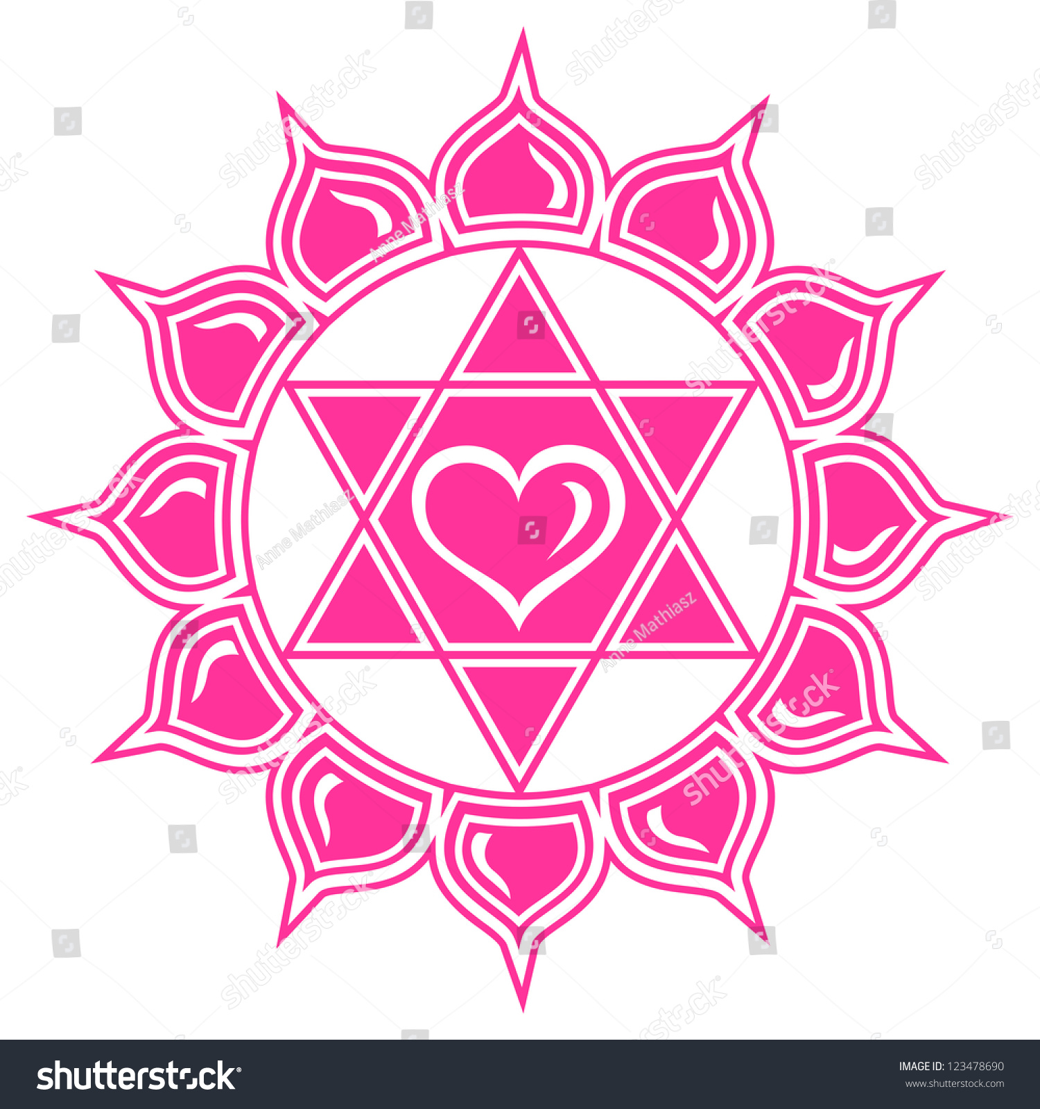 Anahata heart chakra lotus flower center stock vector royalty free anahata heart chakra lotus flower center of love and compassion vector image izmirmasajfo