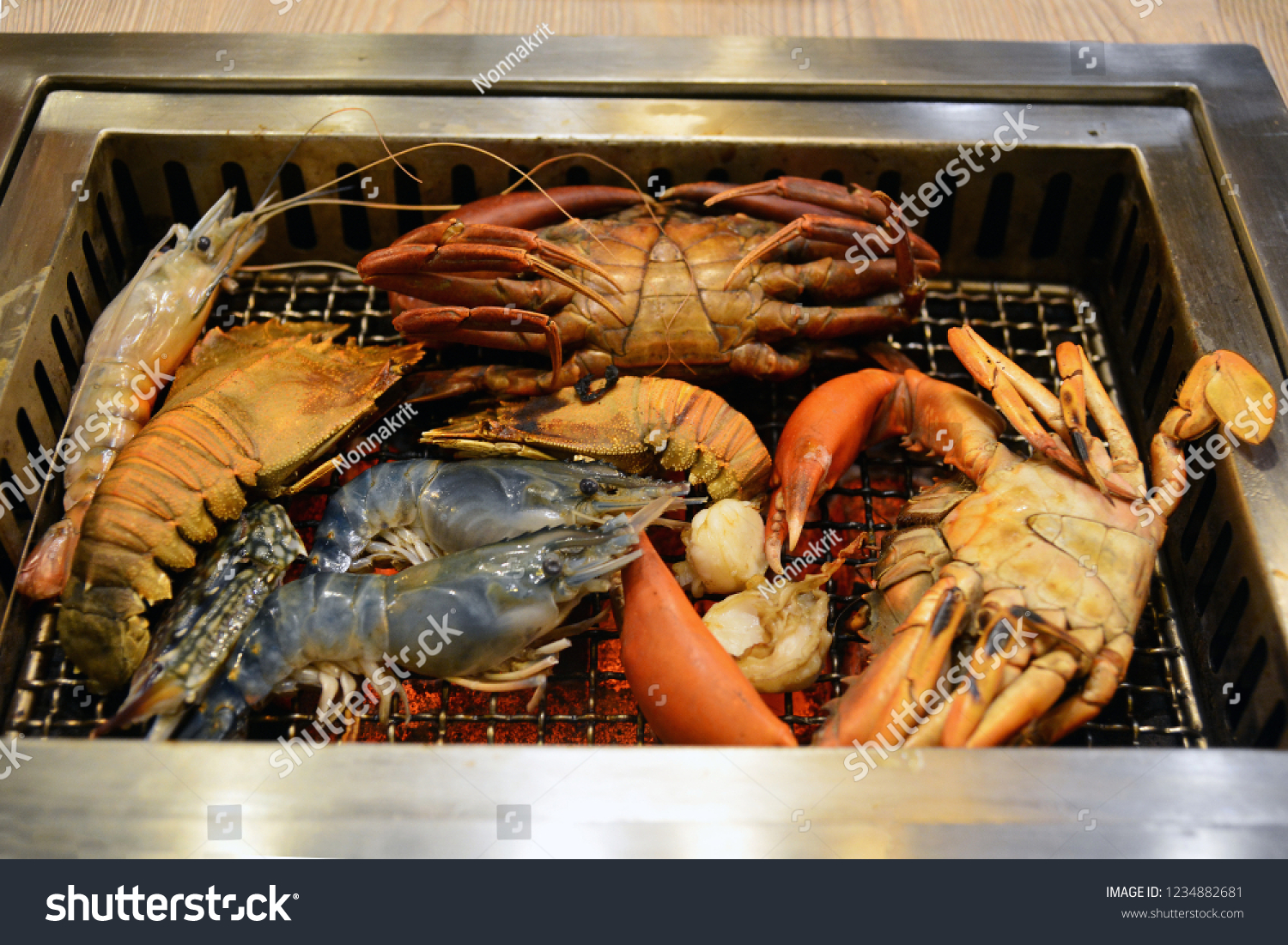 Delicious Grilled Seafood Platter Shrimp Squid Stock Photo Edit Now 1234882681
