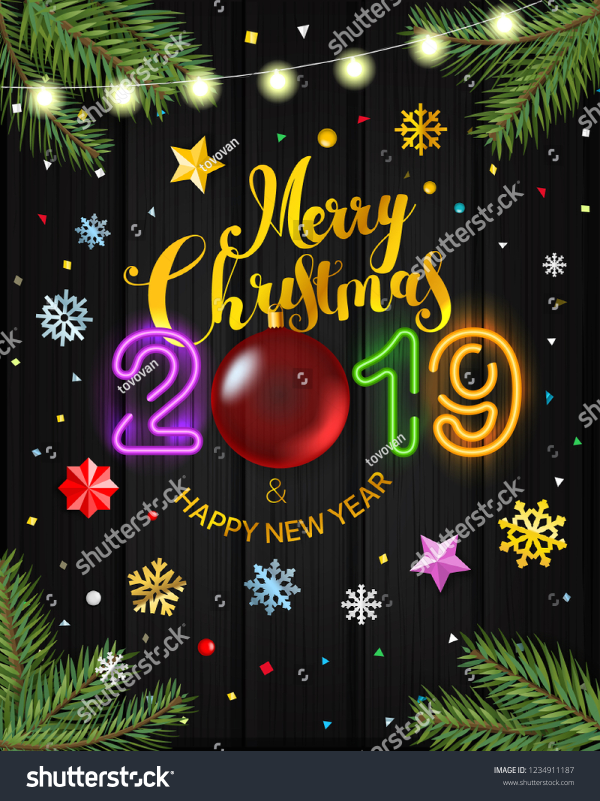 Merry Christmas Wishes 2019.Merry Christmas Happy New Year 2019 Stock Vector Royalty