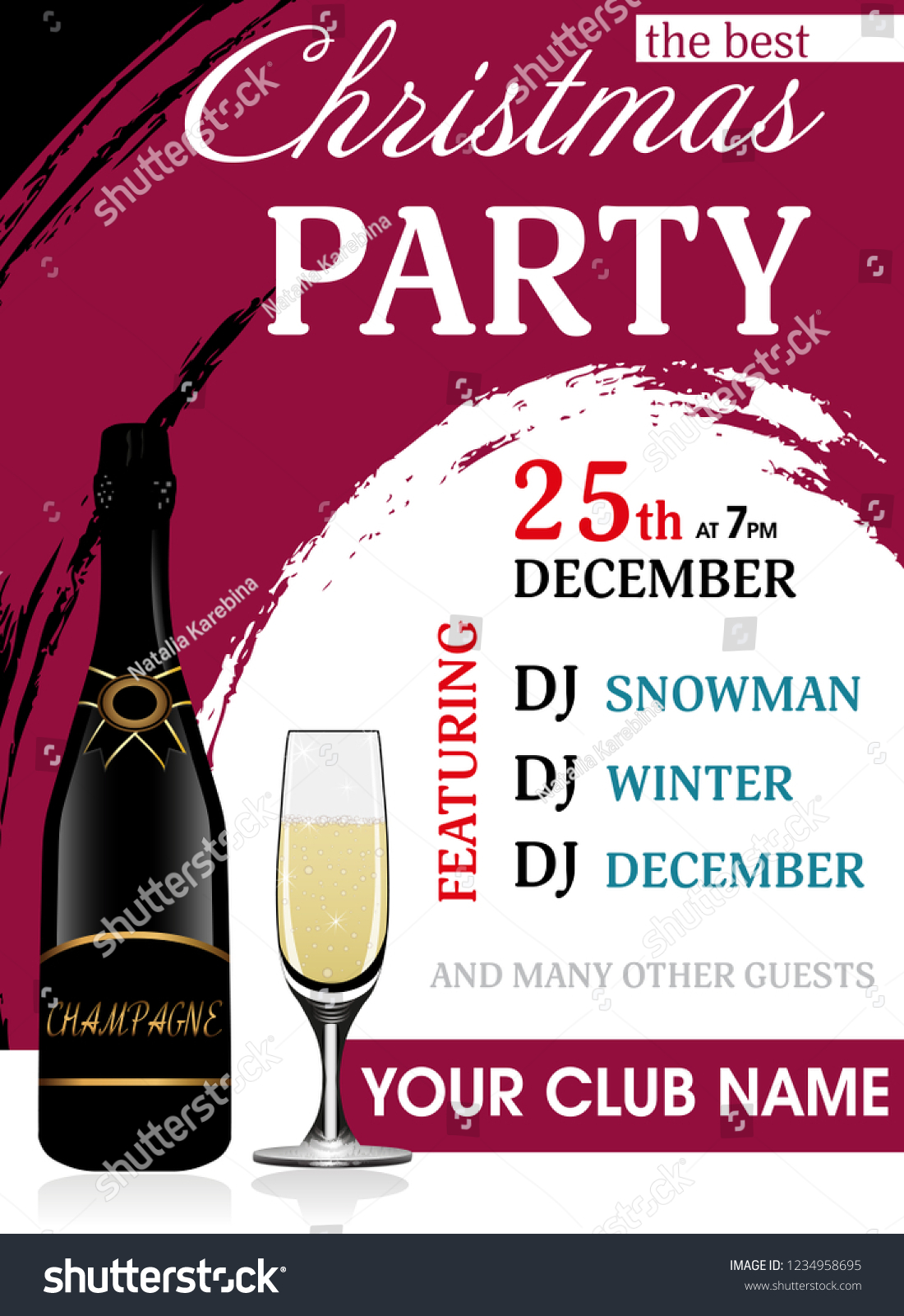 christmas party invitation vertical template with champagne bottle and wineglass new year background vector