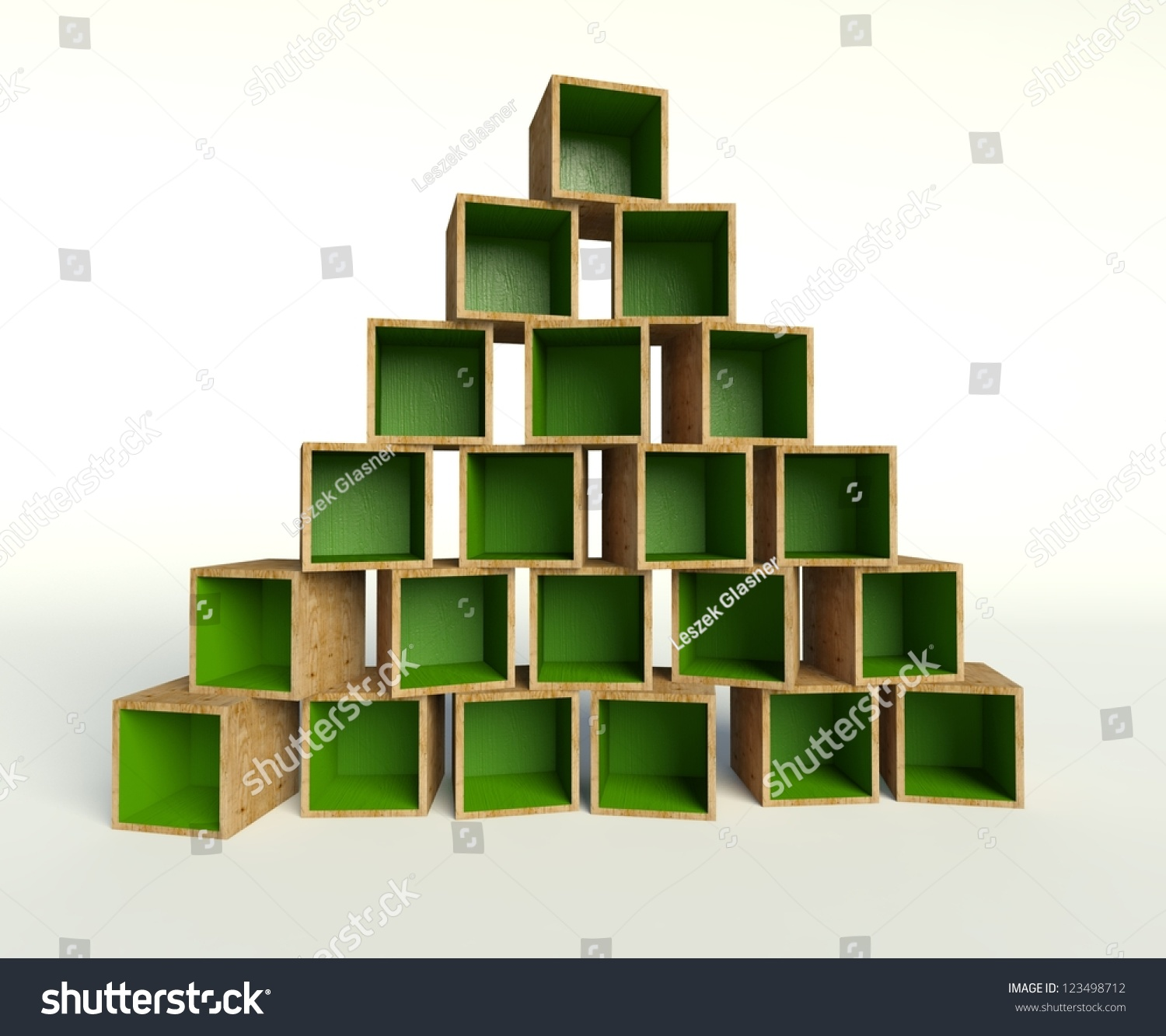 3d Open Wooden Boxes Forming Triangle Stock Illustration 123498712 ...