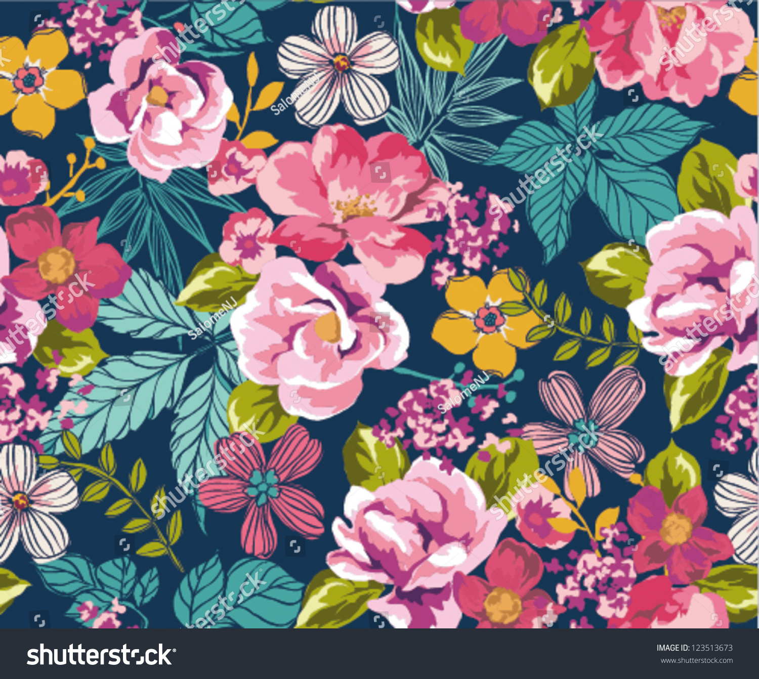 Seamless Summer Tropical Floral Background Vector Stock Image
