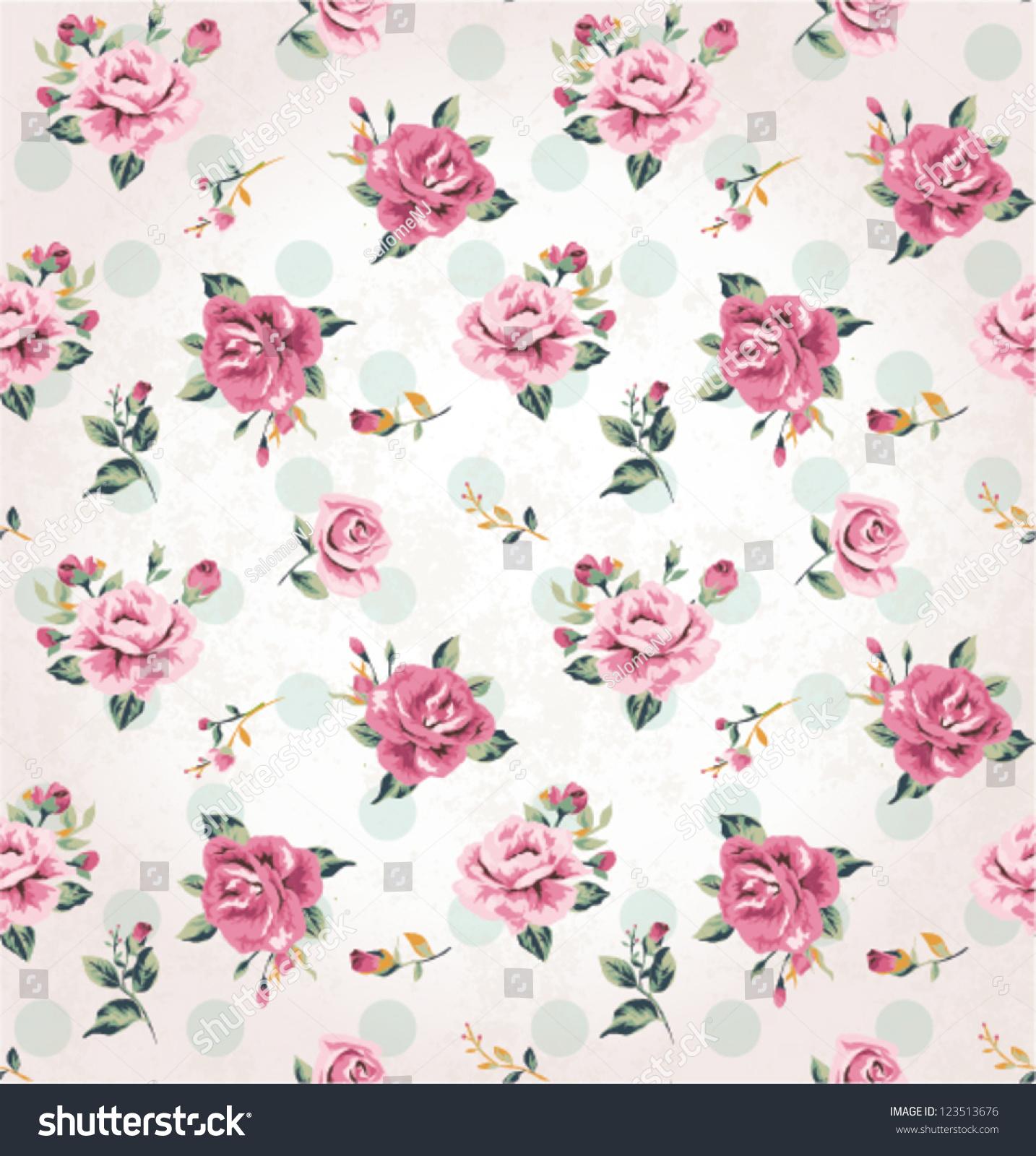 Seamless Vintage Flower Pattern Grunge Background Stock ...