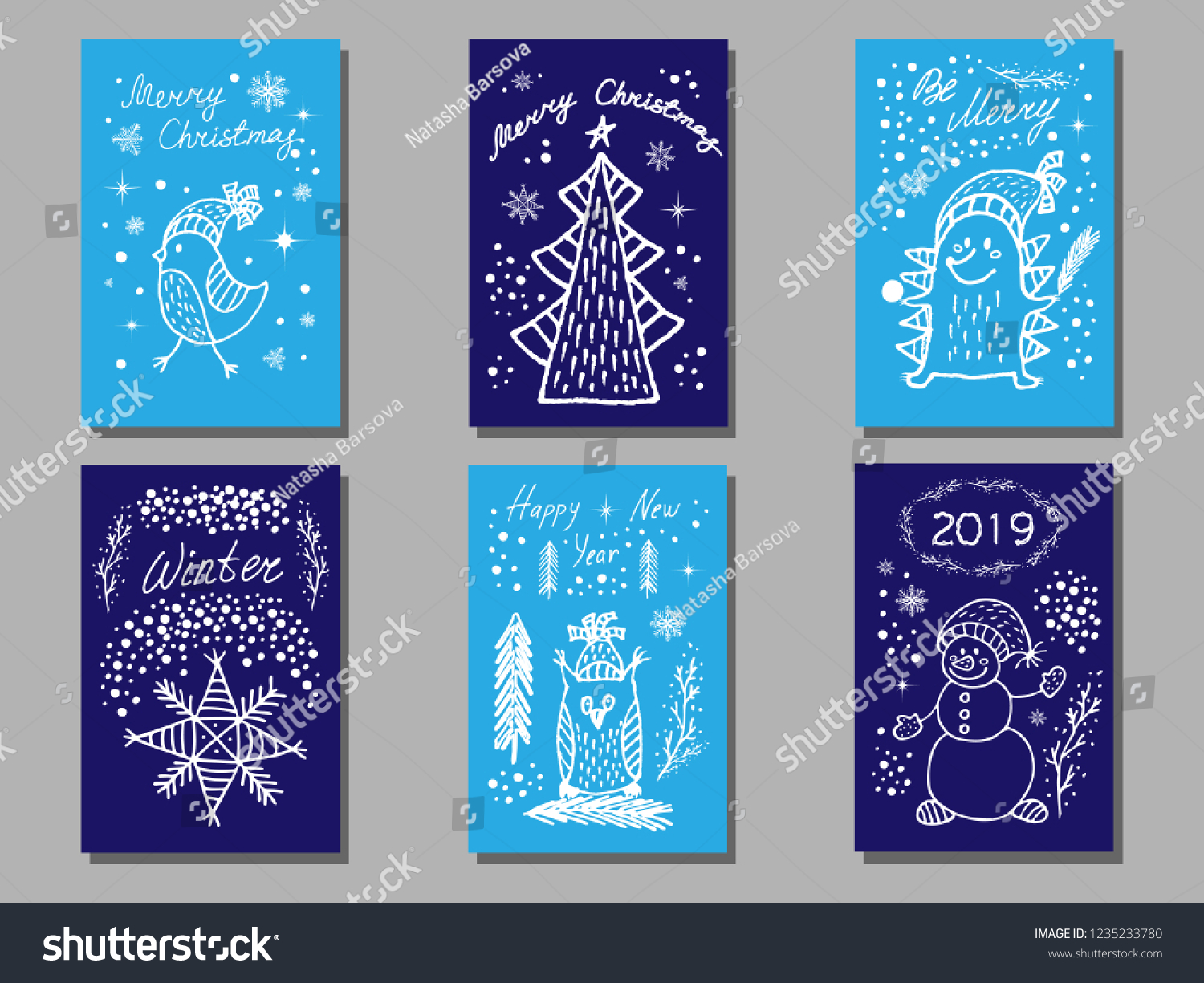 Set 6 Cute Funny Christmas New Stock Vector (Royalty Free ...