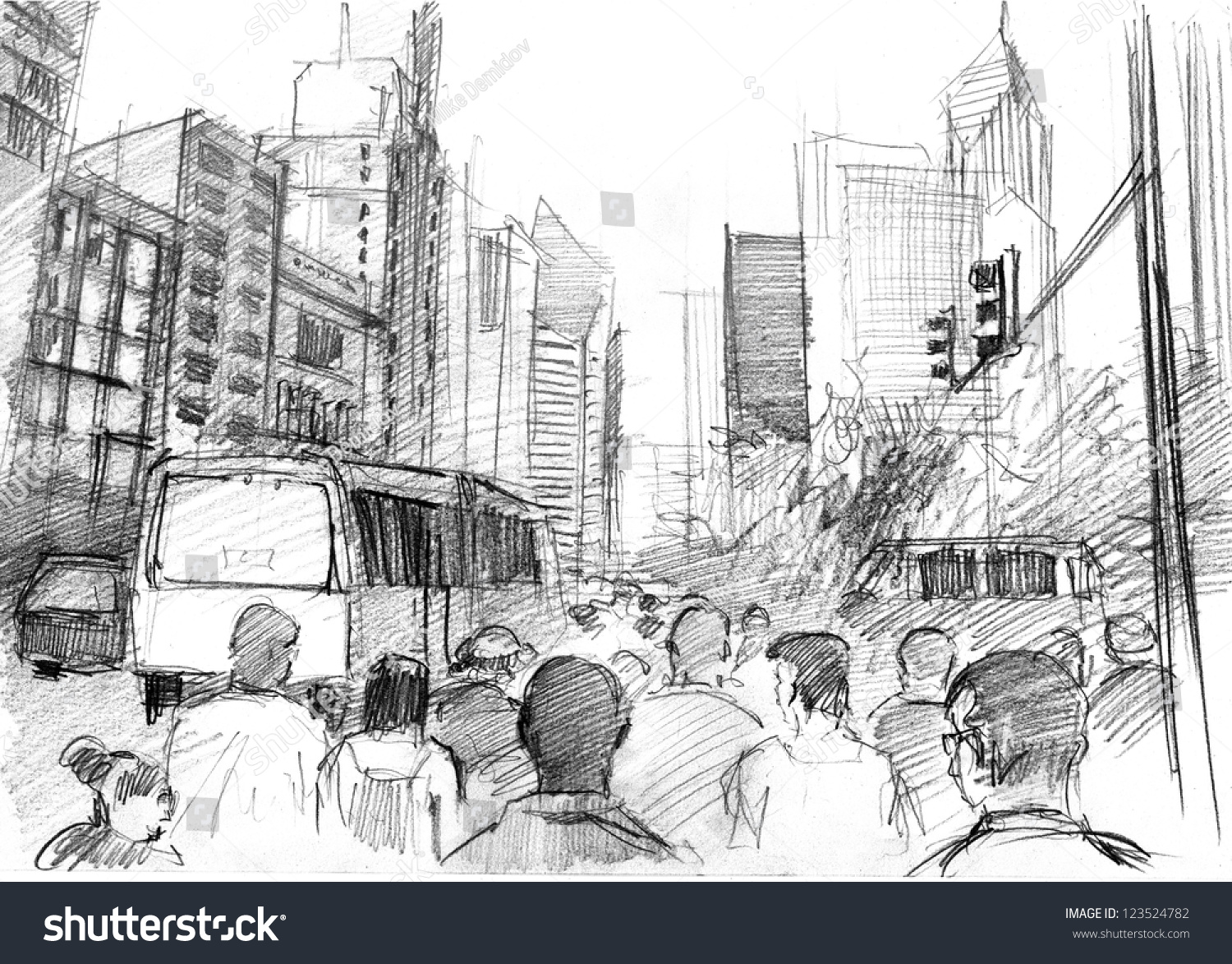 Pencil drawing big modern city skyscrapers stock illustration 123524782