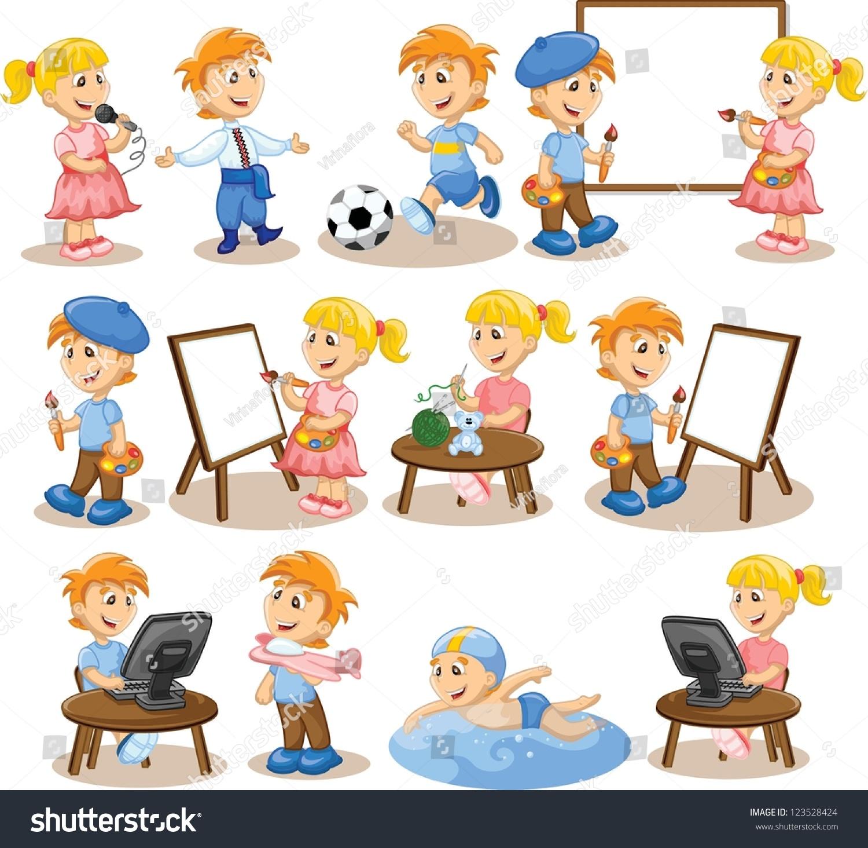 Children Engaged Hobbies Stock Vector 123528424 Shutterstock