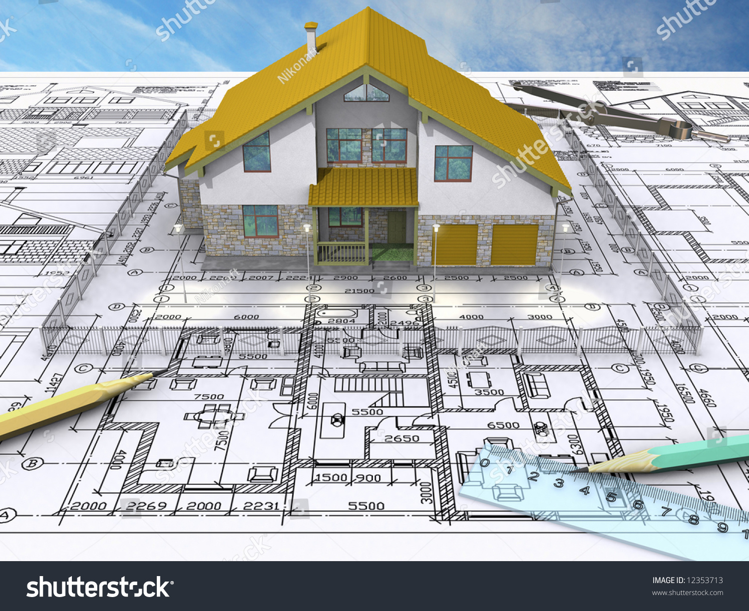 esidential House On rchitect'S Drawing. Front View. Stock Photo ... - ^