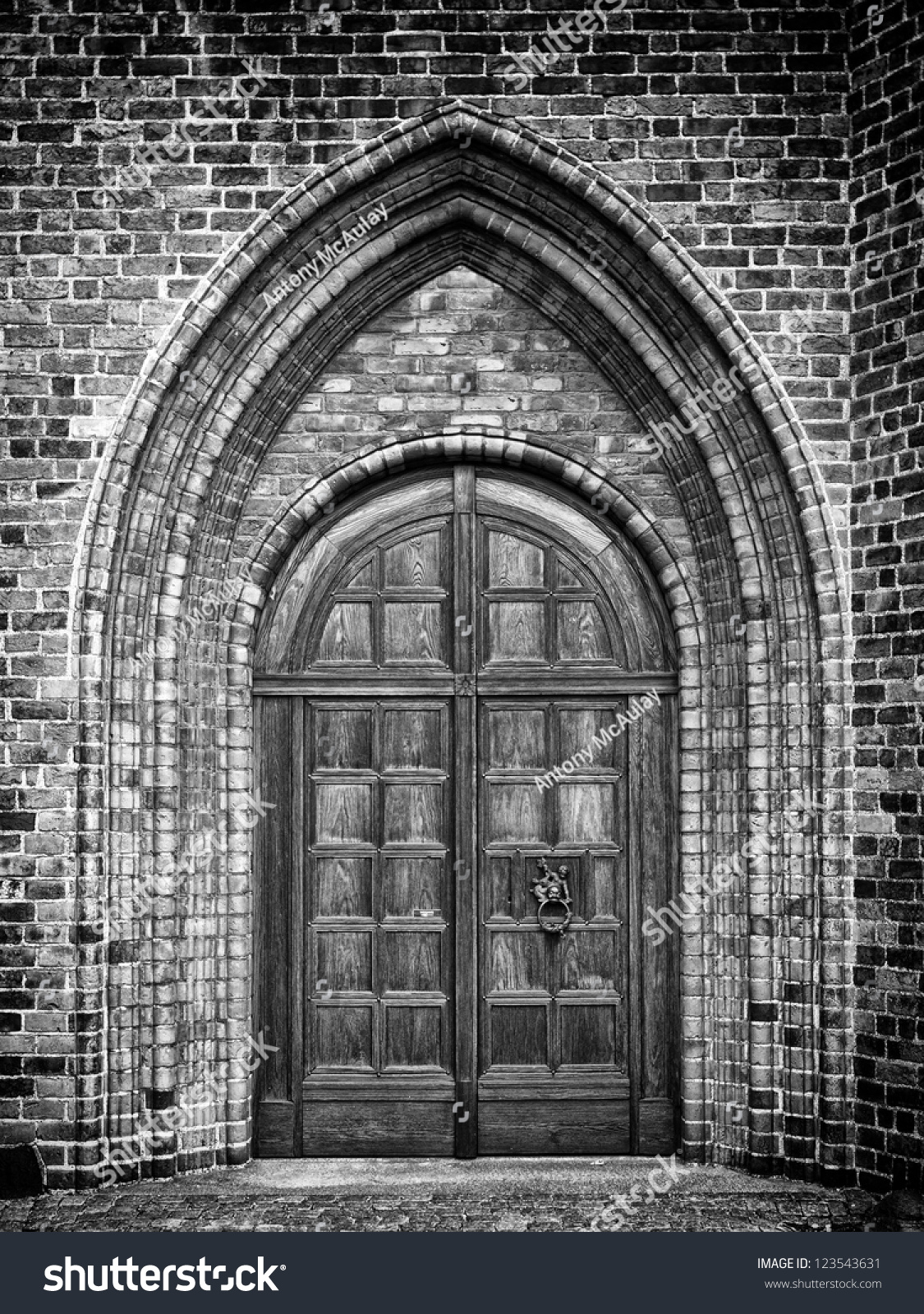 Black White Photo Arched Doorway Gothic Stock Photo