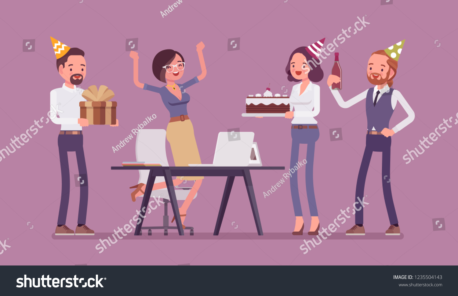 Birthday Party In The Office Female Happy Employee Celebration And Giving Gifts By Friends