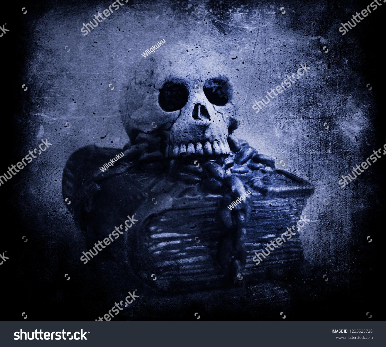 Scary Skull Wallpaper Grunge Halloween Background Stock Photo Edit Now 1235525728