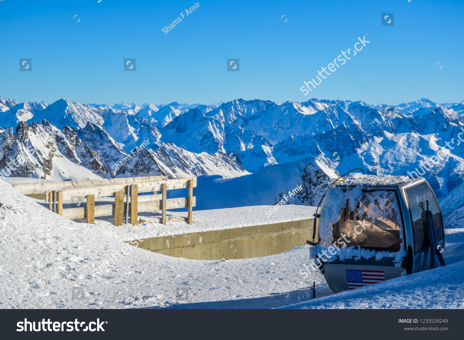 A deserted and destroyed cable car on Mount Titlis Switzerland covered with snow
