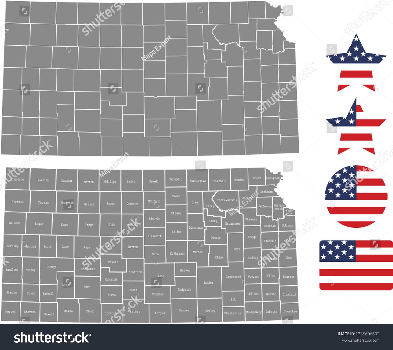 Kansas County Map Vector Outline Gray Stock Vector (Royalty Free ...