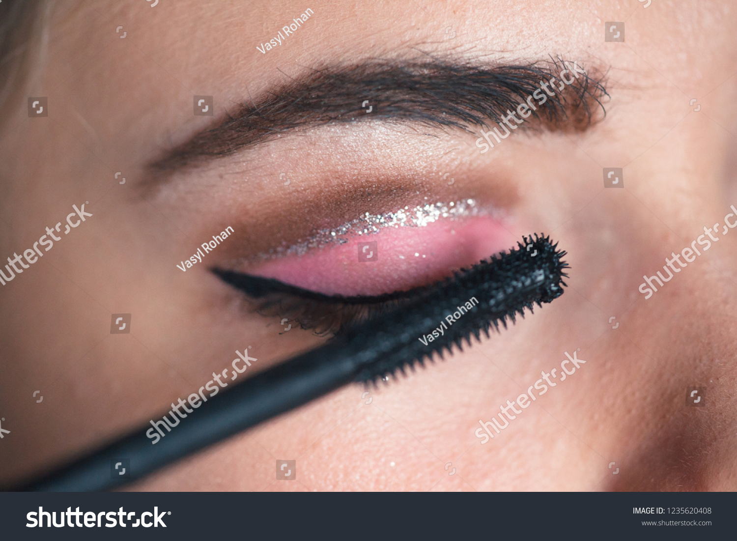 Closeup Makeup Artist Applying Smokey Eyes Stock Photo Edit Now