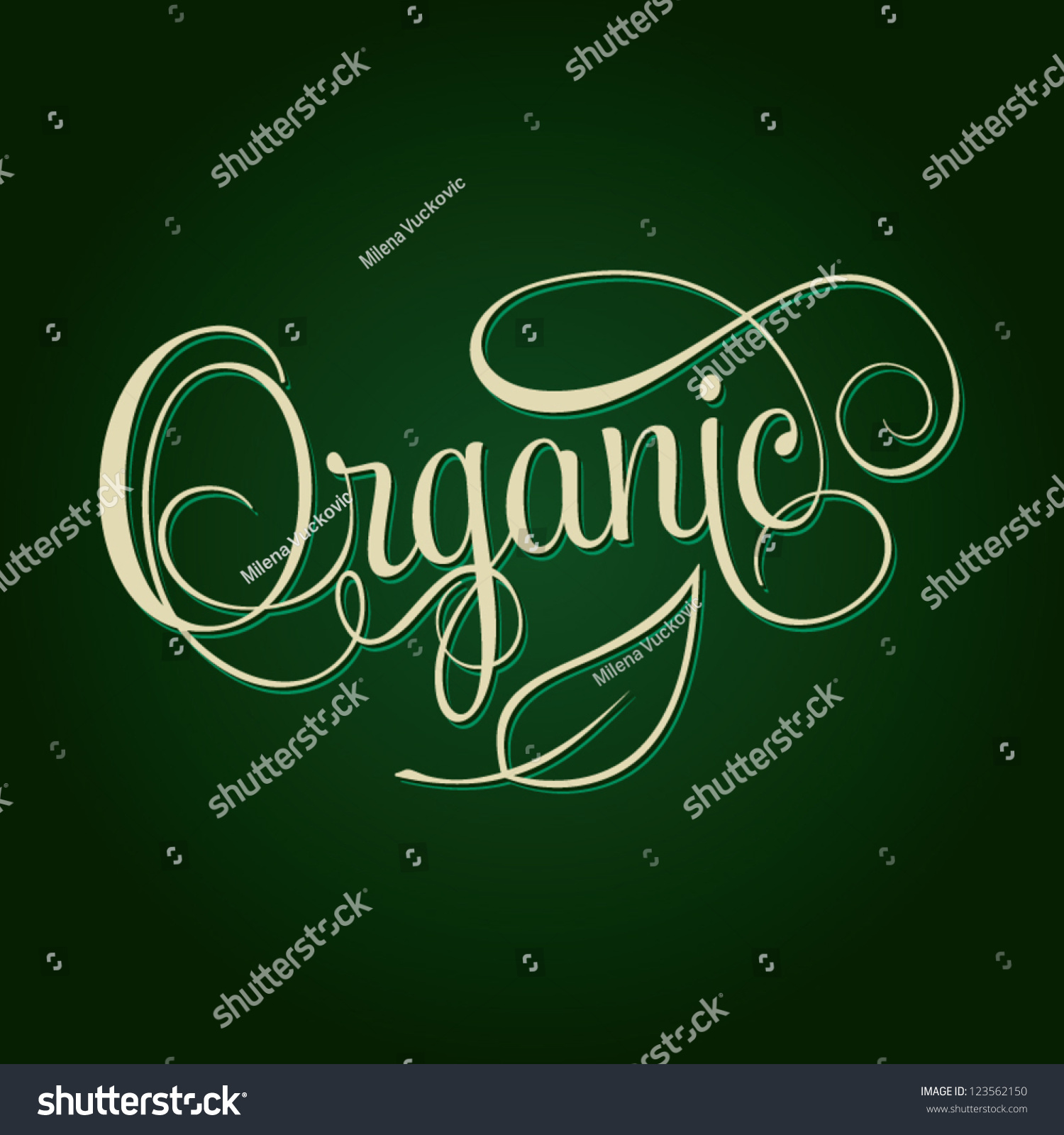 Organic Hand Lettering Handmade Calligraphy Shopping Stock